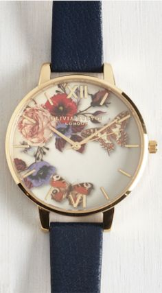 love this floral faced watch