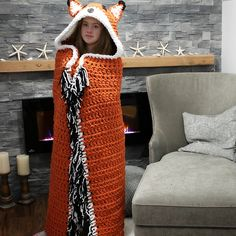 Crochet hooded fox blanket pattern by MJ's Off The Hook Designs