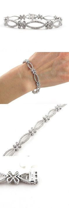 Diamond 10976: 14K White Gold Flowers And Kisses Diamond Tennis Bracelet 7 1/2 / 1.90 Cts BUY IT NOW ONLY: $1573.95