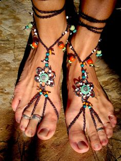 Hippie Boho Barefoot Sandals w beads. these are awesome