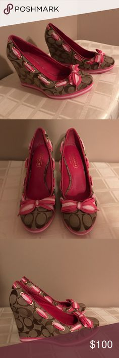 Coach brown with pink laces wedge shoes Coach brown with pink laces wedge shoes. Never used perfect condition. Purchased at Lord and Taylor Coach Shoes Wedges