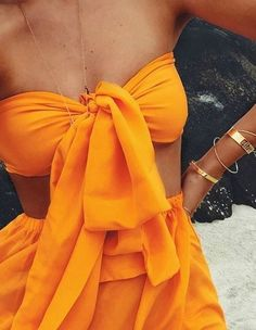 Tangerine Dream bright orange silk two piece gown set dress as worn by Daniella Grace | fashion bloggger | by Australian designer Sisters The Label | Sold as a top & skirt set