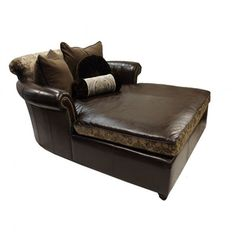 Old World Tuscan Style Oversized Leather Chaise Lounge SHOP www.crownjewel.design