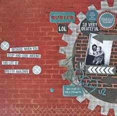 "Layout by Amanda Baldwin for Kaisercraft ""Scrap Yard"" collection - Wendy Schultz ~ Scrapbook Layouts 3 Scrapbook Templates, Scrapbook Paper Crafts, Scrapbooking Layouts, Scrapbook Pages, Baby Boy Scrapbook, Yard, Cogs, Base Coat, U2"