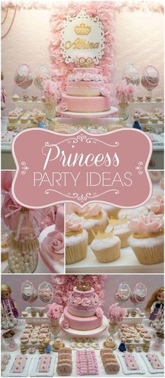 Here's a gorgeous pink and gold Disney princess party! See more party ideas at CatchMyParty.com!