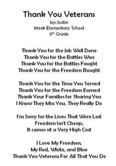 [ Sample Thank You Letter Wwii Veterans Military Fallen Sleep Inn Thankyou ] - Best Free Home Design Idea & Inspiration Veterans Day Speeches, Veterans Day Thank You, Veterans Day Quotes, Honor Veterans, Military Veterans, Thank You Poems, Thank You Letter, Law Enforcement Quotes, Veterans Day Activities