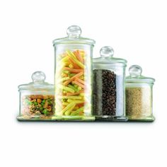 Win What You Pin! - Anchor Hocking Anchor Hocking 4 pc Round Glass Canister Set w/ Ball Lid - Canister Sets - Prep & Storage I could use these to store many things in! Glass Apothecary Jars, Glass Jars With Lids, Glass Canisters, Jar Lids, Glass Storage Jars, Jar Storage, Glass Containers, Kitchen Storage, Food Storage