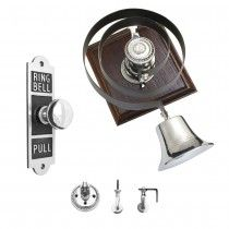 BP32-BP42-PC-T28-DK Butlers Bell & Oblong Embossed Bell Pull Mechanical  - Polished Chrome