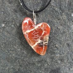 Heart jewelry  unique Carnelian heart by NaturesArtMelbourne