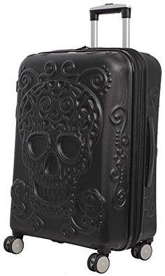 IT Luggage Skulls 3 Piece Spinner Set – Black