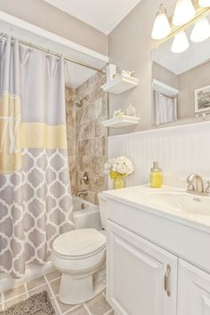 Cottage Full Bathroom with Dupont Corian Designer White, Inset cabinets, Raised panel, Floating shelves, Bead board