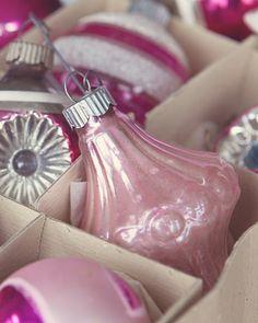 beautiful vintage pink glass Christmas bulbs