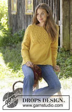 Golden fairy / DROPS - free knitting patterns by DROPS design Knitted sweater in DROPS Lima or DROPS Cotton Merino. The piece is knitted with a round yoke and lace pattern. Sweater Knitting Patterns, Knitting Designs, Free Knitting, Baby Knitting, Drops Design, Jumpers For Women, Sweaters For Women, Laine Drops, Angora Sweater