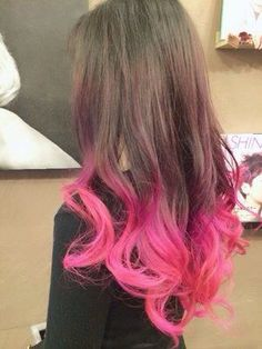 Natural brown hair with pink ends purple hair tips, hair dye tips, dip dye Dyed Tips, Hair Dye Tips, Dip Dye Hair, Dyed Hair, Dip Dyed, Pink Dip Dye, Purple Hair Tips, Colored Hair Tips, Bright Hair Colors