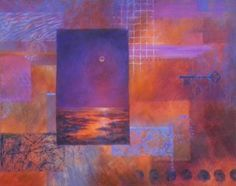 Watch artist Carol A. McIntyre, paint a moon painting, step-by-step.