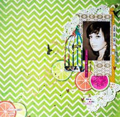 Green Layout by Maria Potapovich using BoBunny Double Dot Cardstock & Doilies. #BoBunny @mellpellmell