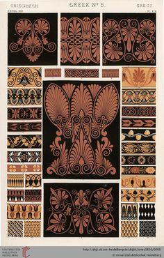 Tafel XIX. Greek Plate (1 of 8). Owen Jones, The Grammar of Ornament. Thanks to the University of Heidelberg digital library.