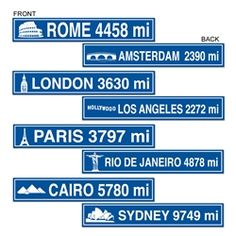 Party Supplies | International Decorations...Travel the world and have some adventures! These Travel Street Sign Cutouts are must have decorations for any international party! Hang them from the ceiling to let people know how far they must travel to reach their destination. Guests will love the authentic look of these cutouts.