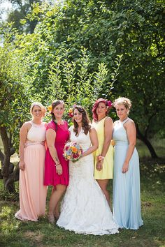 Multicoloured Mismtached Bridesmaid Dresses Long Short Creative Colourful Mexican Outdoor Wedding http://www.binkynixon.com/