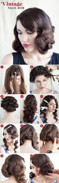 A 1920s Faux-Bob | 27 Gorgeously Dreamy Vintage-Inspired Hair Tutorials http://blog.modcloth.com/2013/09/10/faux-real-a-wavy-faux-bob-how-to/: