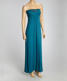 Another great find on #zulily! Teal Blue Embellished Strapless Dress #zulilyfinds