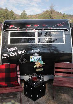 """Jennie's Little Black Dress"" Scottie Serro camper trailer  |  http://www.raisingjane.org/journal/22009#"