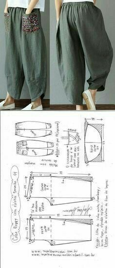 Baggy pants with elastic waistband DIY - shaping, cutting and stitching - Marlene Mukai . - Baggy trousers with elastic waistband DIY – shaping, cutting and stitching – Marlene Mukai – - Sewing Pants, Sewing Clothes, Dress Sewing Patterns, Clothing Patterns, Pattern Sewing, Free Pattern, Fashion Sewing, Diy Fashion, Dress Fashion