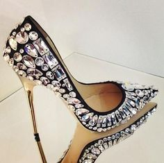 Luxury Black White Crystal Embellished Pumps #jimmychooheelspump