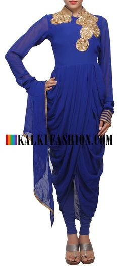 Buy Online from the link below. We ship worldwide (Free Shipping over US$100) http://www.kalkifashion.com/navy-blue-outfit-enhanced-in-sequence-embroidery-and-cowl-drape-only-on-kalki.html