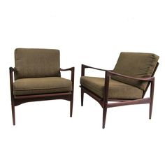 Koford Larsen Midcentury Lounge Chair  Denmark  1950  A pair of Midcentury Teak wood lounge chairs attributed to Kofod Larsen For Illums Bolighus. All original in excellent condition. Frames have been oil polished as per original manufactor finish.