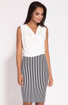 de27e0c1b9 Dursi Zino sukienka czarno-biała - Sukienki ołówkowe - Sukienki wieczorowe  - MODA DAMSKA - Sklep internetowy