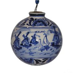 Delft Blue Christmas Ornament - Windmills