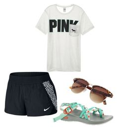 """""""Lazy kinda day"""" by amypavon on Polyvore featuring NIKE, Chaco and Victoria's Secret"""