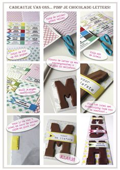 DIY Sinterklaas chocolate letter gift wrap with free printable labels and backgrounds in sizes small and large.