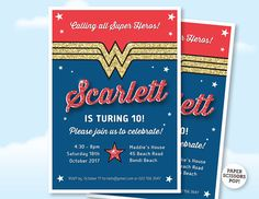 Wonder Woman Birthday Invitation Custom Wonder Woman Invite, Printable Superhero Birthday Invite GIrls Party Invite. 8th 12th,10th Birthday
