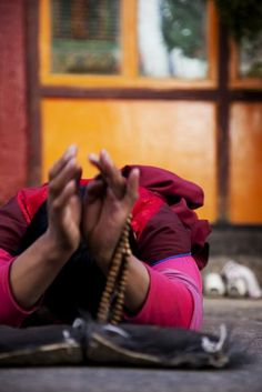 Prostrating Nun . Tibet