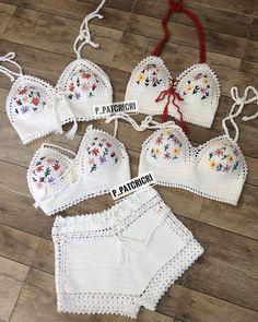 By P Patcricr - Diy Crafts Crochet Bikini Pattern, Swimsuit Pattern, Crochet Shorts, Crochet Clothes, Crochet Patterns, Cotton Crochet, Knit Crochet, Crochet Lingerie, Beach Crochet