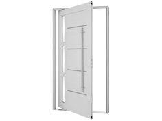 Porta Pivotante Lambris Horizontais com Friso, Vidro e Puxador – PPLHFVP (Linha Aluminium) | Sasazaki - Portas e Janelas
