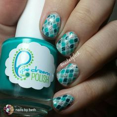 repost via @instarepost20 from @nails.by.beth These turned out better then expected. Here I used @loadedlacquer coconut as the base, @kbshimmer mint-al vacation, @opi this gown needs a crown, @pipedreampolish happy hour, and @smittenpolish 131 angstrom. I also used @vinyl_boutique fishnet vinyls! #loadedlacquer #kbsimmer #opi #pipedreampolish #smittenpolish #vinylboutique #nailvinyls #naildecals #indieswatch #indiepolish #notd#instarepost20