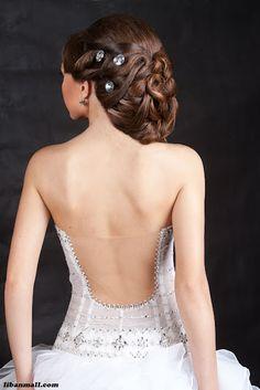 peinado novia, moño largo al lado