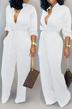 Lovely Work Lace-up Loose White One-piece Jumpsuit - White Outfits For Women, All White Outfit, Classy Outfits, Chic Outfits, Fashion Outfits, Black One Piece Jumpsuit, All White Jumpsuit, Cheap Clothes, Clothes For Women