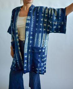 Indigo shibori kimono jacket. Wabi sabi details throughout and deep pockets!