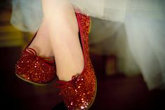 red sparkly ballet flats