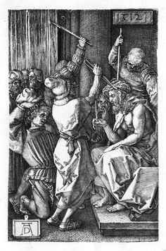 The engraved Passion series: Christ Crowned with Thorns or The crown of thorns or The Mocking of Christ (No. 7)  Deutsch: Kupferstichpassion: Die Dornenkrönung Christi (Nr. 7)  Date 	    1512  Medium 	    engraving on copper