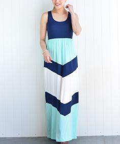 Love this Navy Chevron Maxi Dress - Women by éloges on #zulily! #zulilyfinds