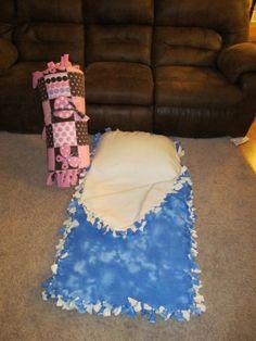 diy no sew sleeping bag. Neat twist on the polar fleece blankets.