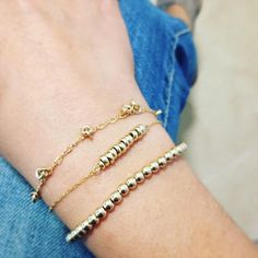 A wonderful set of 3 different gold filled bracelets.  This set consist of 3 gold filled bracelets: asymmetric design on a gold filled chain. Gold bracelets, Bracelet set, Layered bracelets, Gold beaded bracelets, Gold boho bracelets, Gold bracelet set, Dainty gold bracelet #bracelet #braceletstacks #braceletset #bohochic #bohojewelry