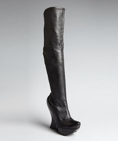 Celine black leather jointed wedge tall boots