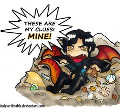 """Smauglock. :D LOL. Made with Copic markers. Smaug fits Sherlock's personality in a lot of ways... """"No dragon can resist the fascination of riddling talk and of wasting time trying to understand it."""" LOL greedy Sherlock."""