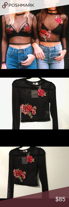 LF Floral Mesh Top • brand new with tags  • Size: Medium • mesh top, cute paired with a black bralette  • prices are firm • low balls will be blocked LF Tops Tees - Long Sleeve